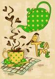 Приглашение чаепития с чайником и чашка Стоковые Фото