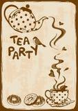 Приглашение чаепития с чайником и чашка Стоковые Изображения RF