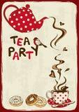 Приглашение чаепития с чайником и чашка Стоковое Фото
