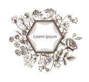 Приглашение шаблона открытки эскиза вектора с цветками Стоковое Изображение