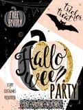 Приглашение яркого блеска иллюстрации вектора хеллоуина роскошное party Стоковое Изображение RF
