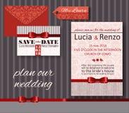 Приглашение для замужества, в красных и розовых тонах Стоковые Изображения RF