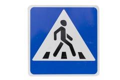 Придайте квадратную форму с белым пешеходным переходом изолята ` ` дорожного знака границы Стоковая Фотография RF
