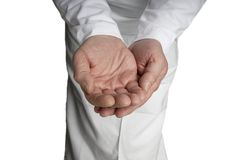 приданный форму чашки пустой мужчина рук открытый Стоковое фото RF