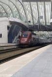 Приезжанный поезд на станции Стоковое фото RF