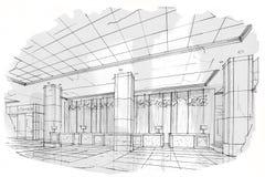 Прием перспективы эскиза внутренний, черно-белый дизайн интерьера Стоковое фото RF