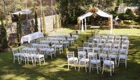 Прием по случаю бракосочетания в саде Стоковая Фотография