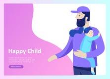 Приземляясь шаблоны страницы на счастливый день отцов, здравоохранение ребенка, счастливое детство и дети, товары и развлечения бесплатная иллюстрация