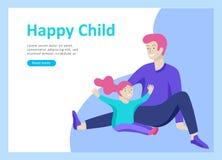 Приземляясь шаблоны страницы на счастливый день отцов, здравоохранение ребенка, счастливое детство и дети, товары и развлечения иллюстрация штока