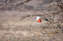 _ Призма и composter контрольного пункта для orienteering Оборудование навигации против как крюка hang долларов принципиальной сх стоковая фотография