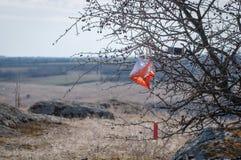 _ Призма и composter контрольного пункта для orienteering Оборудование навигации против как крюка hang долларов принципиальной сх стоковые фотографии rf