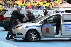 Признаковое задержание полицией преступника стоковые фотографии rf