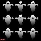 Призраки на хеллоуин Комплект 9 эмоций призраков На черной предпосылке иллюстрация вектора