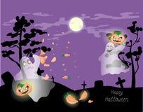Призраки хеллоуина в кладбище иллюстрация вектора