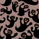 Призраки хеллоуина безшовного doodle жизнерадостные иллюстрация вектора