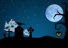 Призраки хеллоуина в погосте Стоковое Изображение