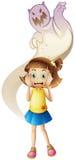 Призрак пугая маленькую девочку Стоковое Изображение RF