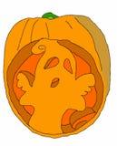 Призрак хеллоуина с тыквой на белой предпосылке Стоковые Фотографии RF