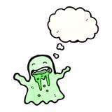 призрак шаржа шламистый с пузырем мысли Стоковое Изображение