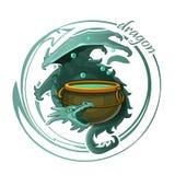 Призрачный дракон защищает котел зелья иллюстрация вектора