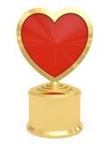 Приз золотистого сердца форменный на белизне Стоковое фото RF