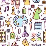 Приказанная безшовная картина с элементами для деятельности при детей творческой бесплатная иллюстрация