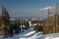 Прикарпатские горы под снегом в зиме Стоковая Фотография RF