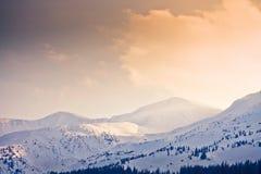 Прикарпатские горы под снегом в зиме Стоковые Фотографии RF
