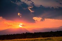 Прикарпатский заход солнца Стоковое фото RF