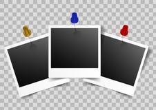 Прикалыванные рамки фото на прозрачной предпосылке иллюстрация штока