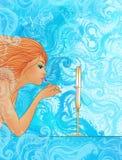 прикладывать красивейший redhead губной помады девушки Стоковое Изображение RF