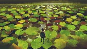 Приключение в болоте фантазии иллюстрация штока