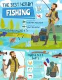 Приключение рыбной ловли, оборудование вылова рыбы fisher иллюстрация штока