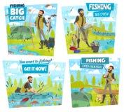 Приключение рыбной ловли, озеро задвижки fisher или рыбы реки иллюстрация штока