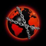 прикованный мир глобуса Стоковое Изображение