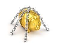 Прикованный piggy банк Стоковое Фото