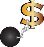 приковывает доллар Иллюстрация вектора