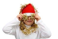 приковывает шлем красный s santa девушки золотистый малый Стоковая Фотография