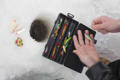 прикормы льда рыболовства Стоковые Изображения