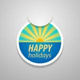 прикрепите счастливый стикер праздников Стоковые Фотографии RF
