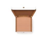 Прикройте раскрытую насмешку дизайна коробки пиццы вверх по изолированному взгляд сверху Стоковая Фотография