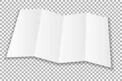Прикройте сложенную белую бумагу листовки Покройте при мягкие тени, изолированные на прозрачной предпосылке вектор Стоковая Фотография