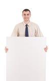 прикройте signboard человека удерживания дела Стоковое Изображение RF