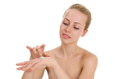 прикладывать политуру кожи внимательности прозрачную Стоковое Изображение