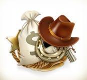 Приключение ковбоя Логотип игры вектор 3d Стоковая Фотография