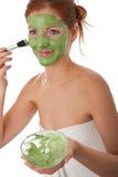 приложите детенышей женщины маски внимательности тела лицевых Стоковые Изображения