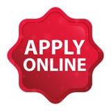 Приложите онлайн туманное поднял красная кнопка стикера starburst иллюстрация вектора