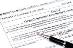 Применение банкротства главы 11 Стоковые Изображения