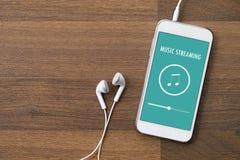 Применение игры музыки, течь, на умном телефоне иллюстрация вектора