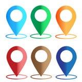Применение навигации Gps установите значок цветов карты на белизне Стоковые Фотографии RF